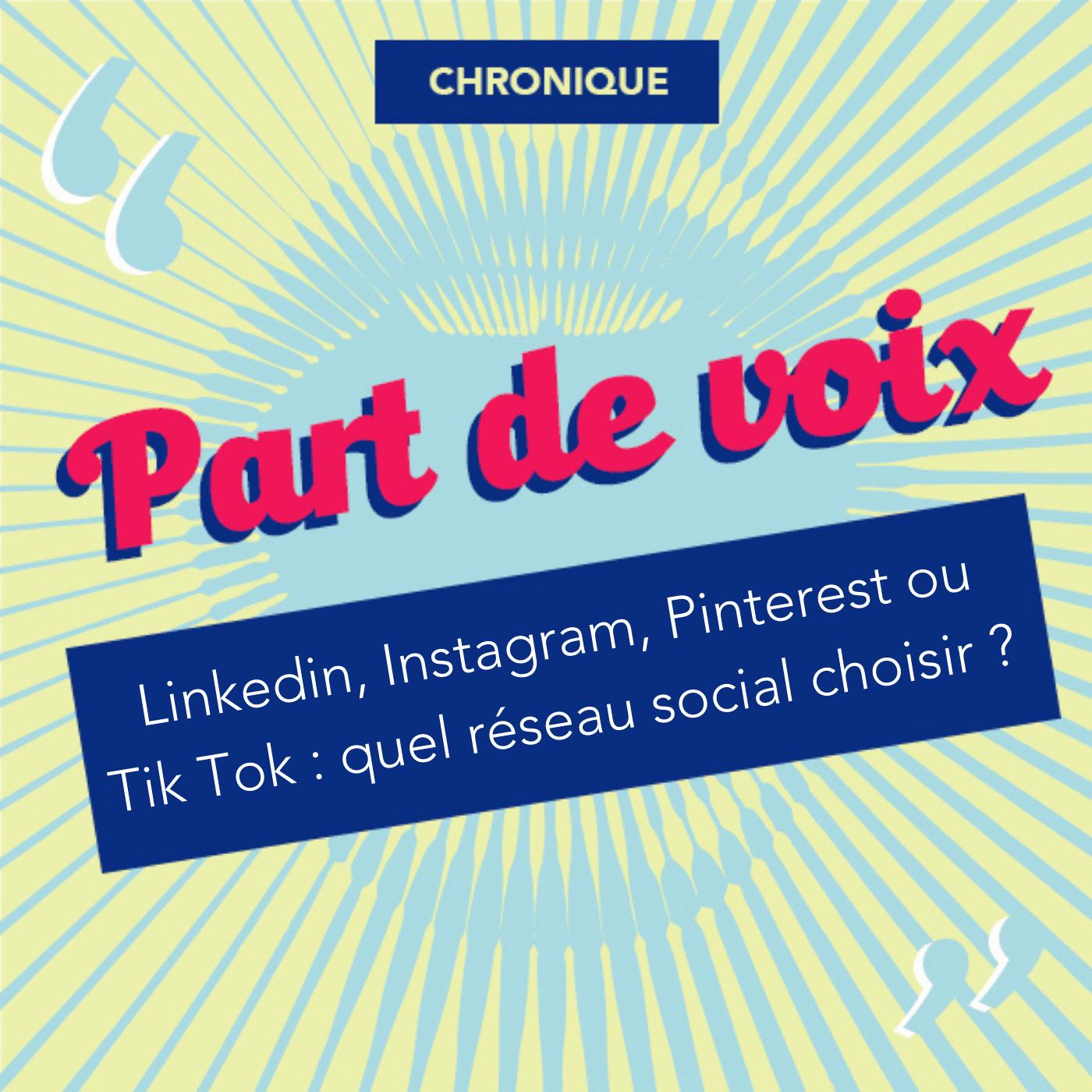 Linkedin, Instagram, Pinterest ou Tik Tok : quel réseau social choisir ? [Chronique]